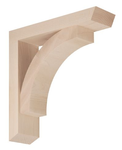 This Contour Bracket is styled with solid, simple lines and features open sides for visual interest.<br /> <br /> Both functional and decorative, handcrafted wood brackets can adorn or support cabinets, countertops, mantles, shelving and more. Browse these carved components by style, then choose a size and wood species.