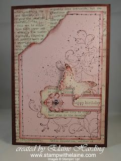 Creative Elements set with pink pir. to create this vintage card - thanks Elaine!