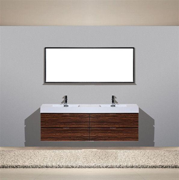 Bliss 72 Quot Walnut Wall Mount Modern Bathroom Vanity Double