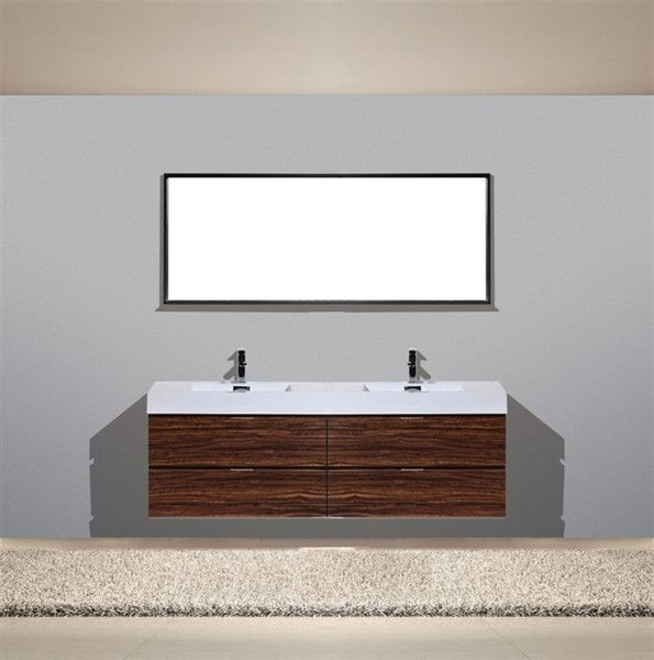 Bliss 72 Quot Walnut Wall Mount Modern Bathroom Vanity Double