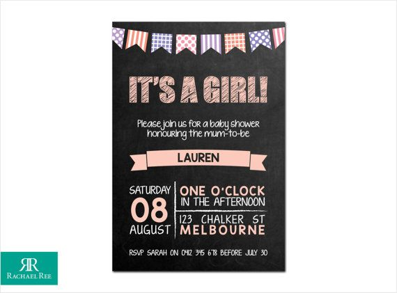 It's a Girl! Chalkboard and Bunting Baby Shower Invitations - Pink Purple Grey - Digital Printable DIY