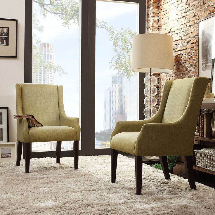 Inspire q jourdan linen sloped arm hostess chair for Inspire q dining room chairs