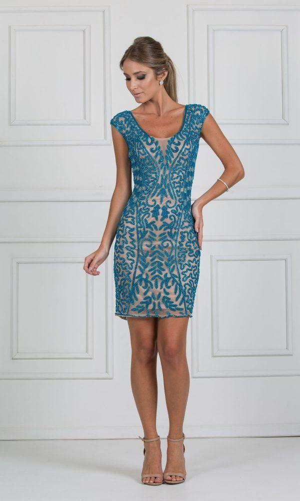 3a607dffdf vestido curto bordado em azul