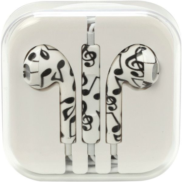 MiCase Music Note Print Earbuds | Hot Topic ($9.50) ❤ liked on Polyvore featuring accessories, headphones, electronics, tech, music and fillers