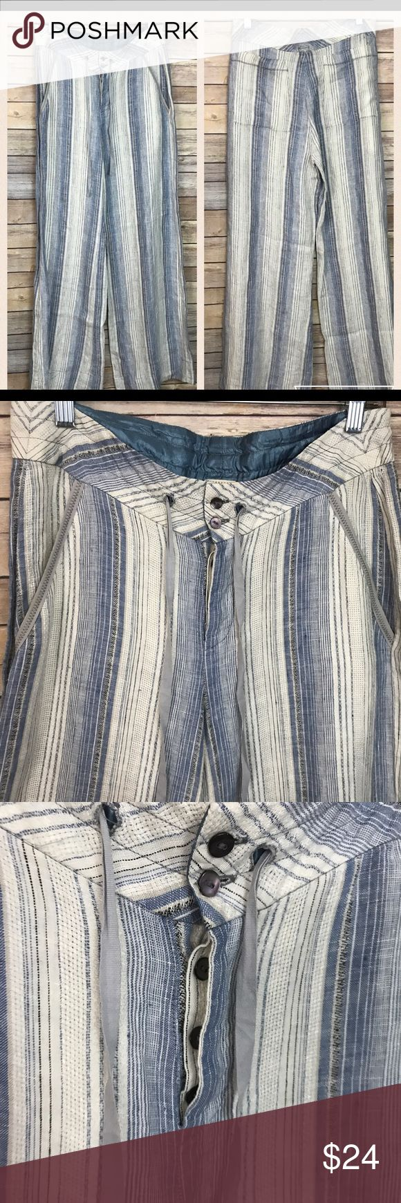 """Anthropologists Tiny Wide leg Linen Pants Anthropologie Tiny blue/white striped Linen pants. Some loose threads on back but not very noticeable. No stains or Holes. Waist: 30"""" Hips: 34"""" Inseam: 32"""".                Stock #1953 Anthropologie Pants Trousers"""