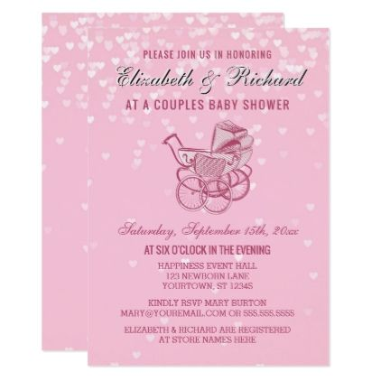 Pink Pram Buggy Hearts Couples Baby Shower Card - baby shower ideas party babies newborn gifts
