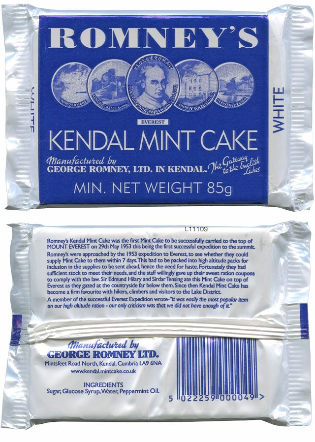 Kendal Mint cake has been made in Kendal in the Lake District since 1869. Favourite of explorers for it's high sugar energy content and a favourite of mine, though if you eat too much you think you can climb Mount Everest!!