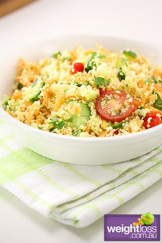Cherry Tomato Couscous. #HealthyRecipes #DietRecipes #WeightLossRecipes weightloss.com.au