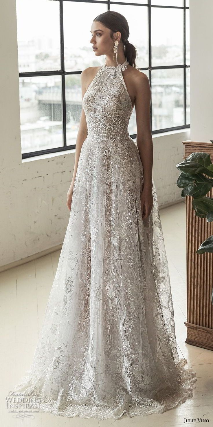 julie vino 2019 romanzo bridal sleeveless halter jewel neck full embellishment r…