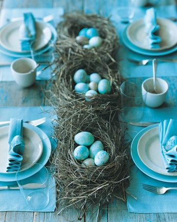 "Marbelized Egg Table Setting~ Love this idea of nests for Spring or Easter  symbolizing ""new life."" This would be a great baby shower theme too for a boy or change to opink for a girl!!"