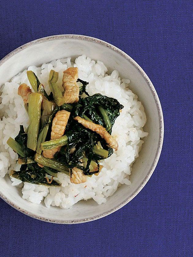 野沢菜と豚肉炒め