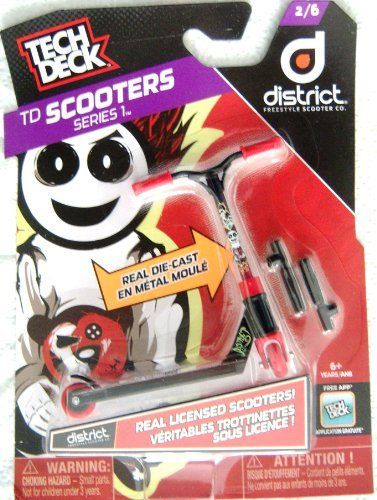 Tech Deck Scooters Series 1 District Freestyle Scooter Co 2/6 (778988057209) 1 Liscensed Scooter Interchangeable Parts Real Die-cast GripTape Deco Handle Grips
