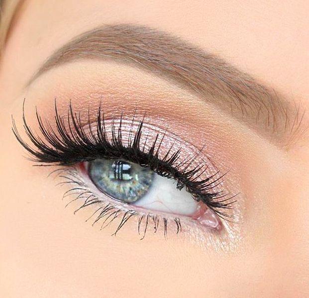 light pink shimmer + false lashes