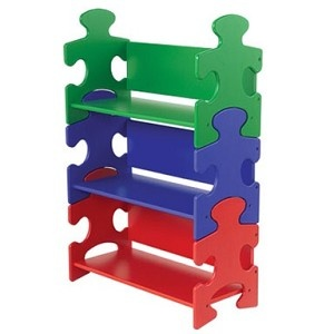 Primary Color Puzzle Piece Bookshelf by KidKraft    A unique place to display favorite books and toys. Decorative and functional furniture for a child's bedroom or playroom. Adds a playful touch to a classroom or daycare.    $95.00 - Three shelves included in colors of blue, red, and green.  25 in L x 11.75 in W x 37.5 in H