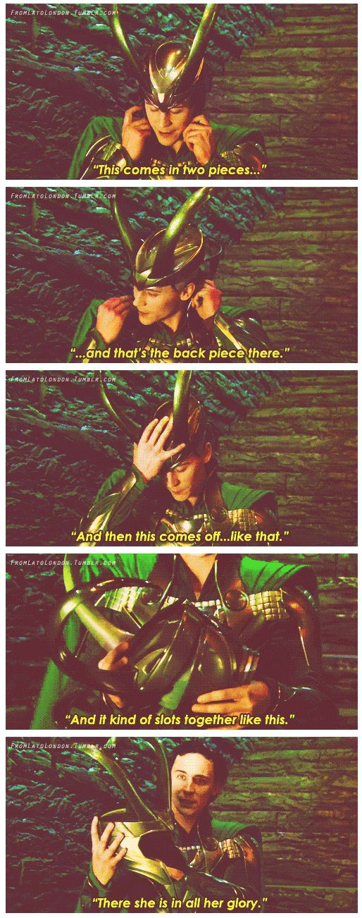 Tom Hiddleston talks about his helmet on the set of, Thor http://pinterest.com/yankeelisa/marvel-s-the-avengers-4/