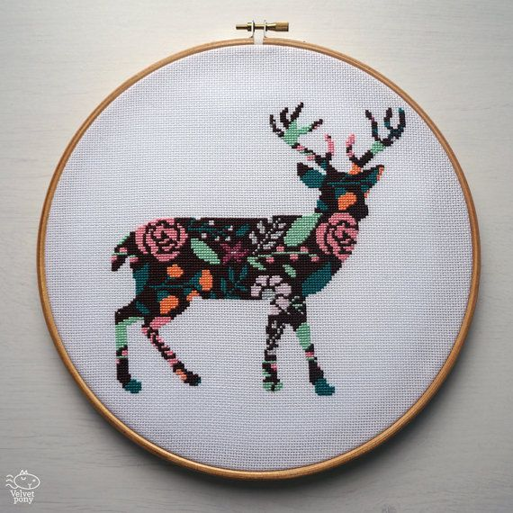 Floral Deer Silhouette Modern Cross Stitch Pattern PDF - Instant Download. Wild Deer Embroidery. Forest Animals Counted Cross Stitch Pattern