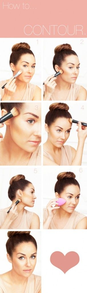 how to contour:   1.     Apply foundation all over face and neck.     2.     Suck in your cheeks.  Sweep bronzer with a flat-headed bronzer brush just slightly under cheekbones from the hollows to ear.    3.     Sweep in circular motions directly on temples.    4.     Contour along the hairline.    5.     Contour directly underneath your jawline.    6.     Blend edges with a sponge.