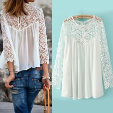 Women Ladies Long Sleeve Embroidery Lace Tops Chiffon Shirt Blouse Plus Size Tee