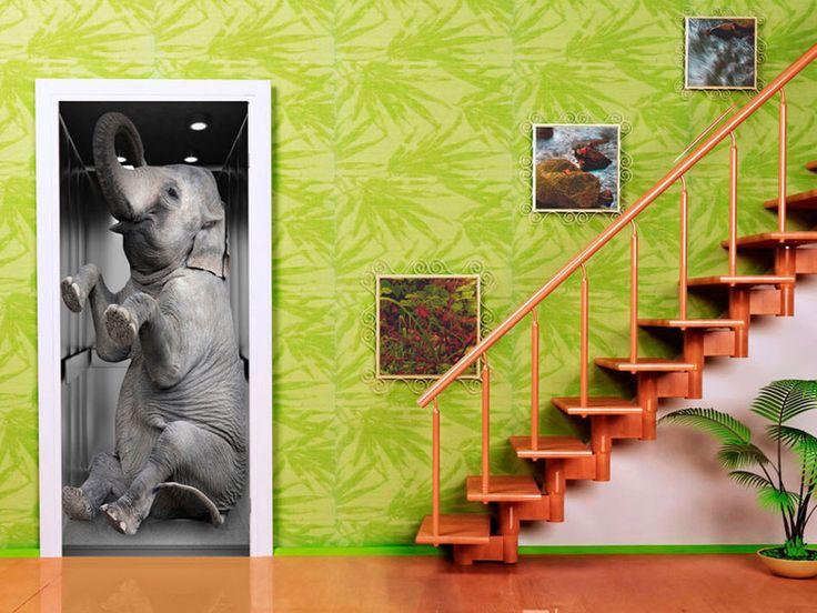 Tapeta na drzwi 100x210 słoń 101005-22 - artgeist - Dekoracje #słoń #elephant #art #wallpaper #door #tapeta