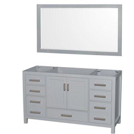 Wyndham Collection Sheffield 60 inch Single Bathroom Vanity in Gray, No Countertop, No Sink, and 58 inch Mirror
