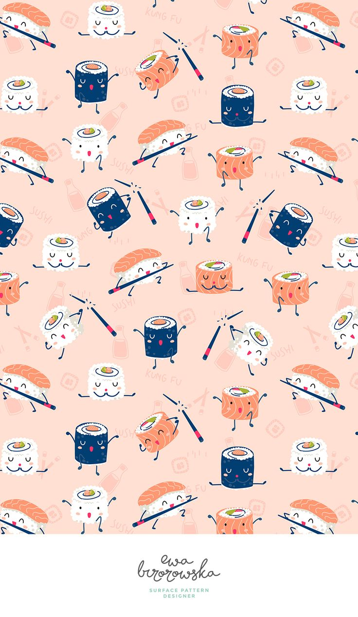 Kawaii kung-fu sushi pattern design in coral color palette with a touch of navy. Available on Spoonflower.