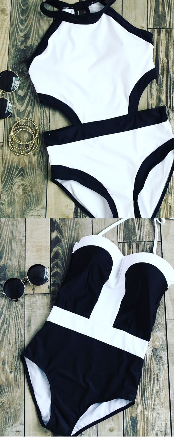 Womens Sexy One Piece, Black & White Halter Swimwear, must have items for the beach vacation. Only $14.85, find more amazing swimsuits from romwe.com