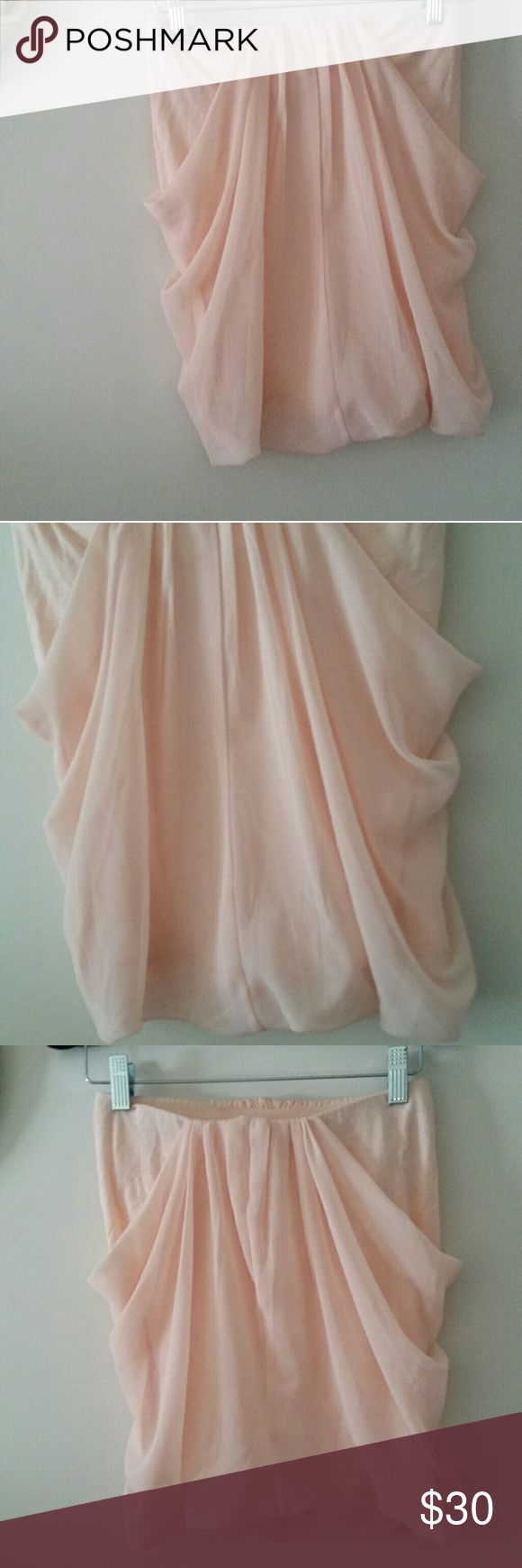 Pink Chiffon Tube Top Express Size XS Like New Ballet slipper pink chiffon tube top from Express in Size XS. Like new condition. Fully lined and has elastic strapless bra inside. Banded at top to stay up. Beautiful flowy fabric. Express Tops