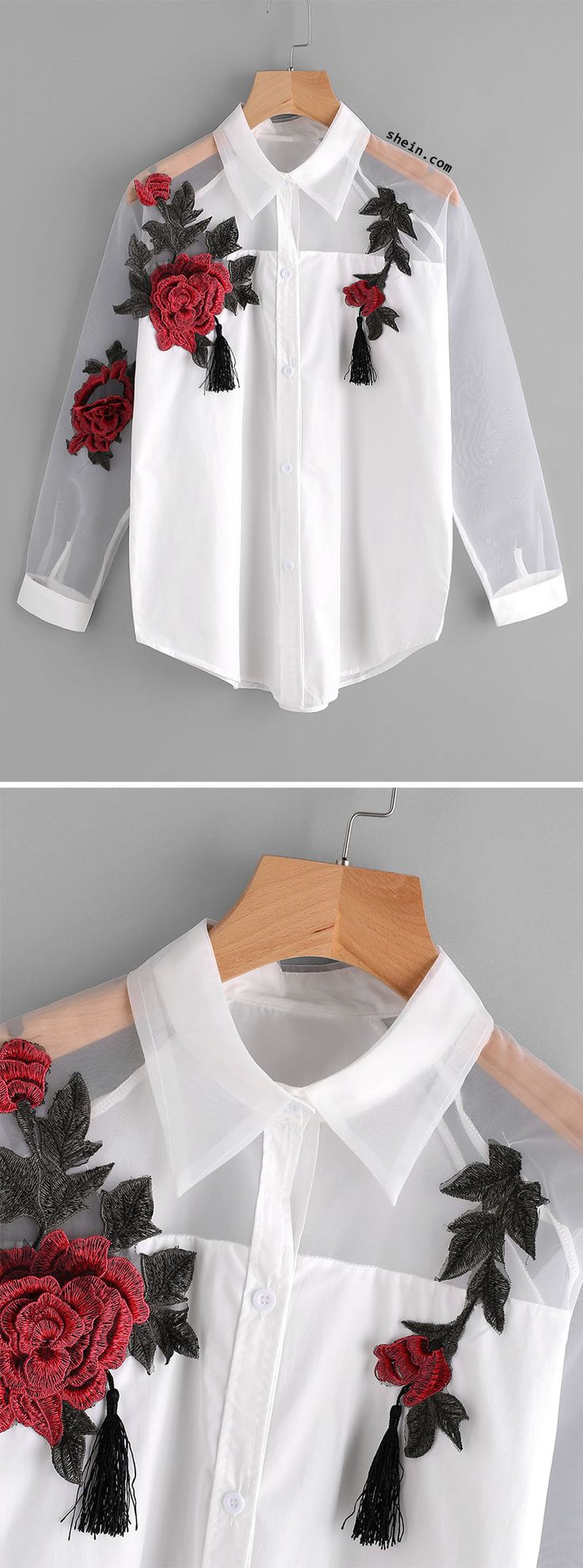 Appliques Tassel Detail Shirt With Sheer Mesh Panel. Two colors available.