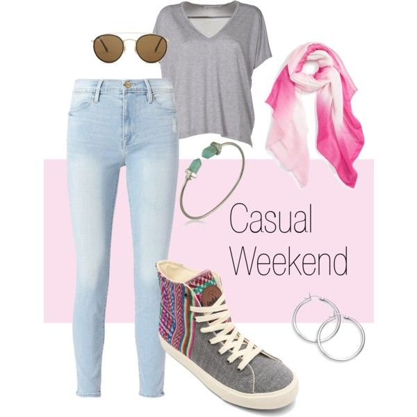Casual Weekend by inkkasaustralia on Polyvore featuring Inkkas Slate High Tops, Acne Studios, Frame, WithChic, Ray-Ban and Caslon