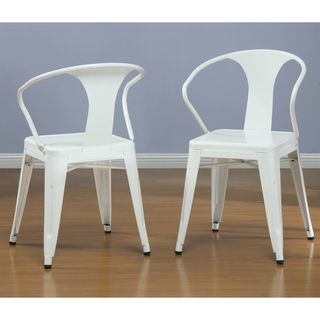 White Tabouret Stacking Chairs (Set of 4)- white industrial metal dining chairs.. look fresh- not warehouse drab