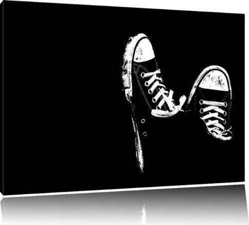 Beautiful Chucks black and white Black Background Format x cm auf Leinwand XXL riesige Bilder