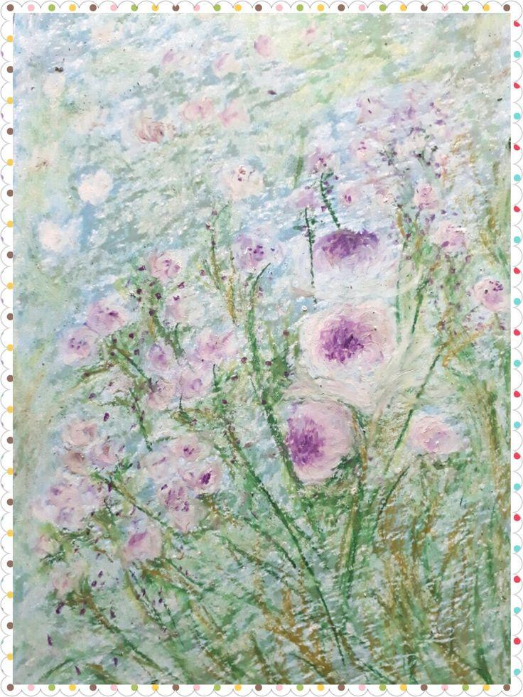 Rainys purple, oil pastel on paper, 20x30