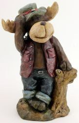 Rustic Moose standing with a Tree Stump - Jensen Nursery and Garden Centre