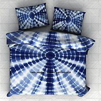 Indigo Tie Dye Bedding Set Queen Shibori Hand Dyed Bedspread with Pillow Covers