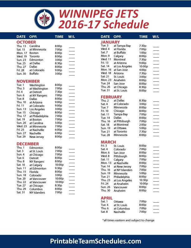 Winnipeg Jets 2016-17 Schedule #Hockey #NHL #Jets