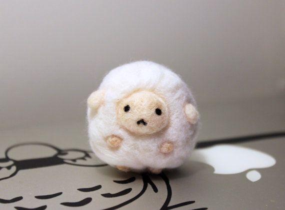 Cute Kawaii Needle Felted Sheep Plush Keychain by CafeDeYume