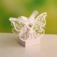 Бабочка Свадьбы пользу Коробки конфеты коробки, свадебные сувениры и подарки, свадебные принадлежности, свадебные коробки для конфет, бумажная коробка 50 шт.