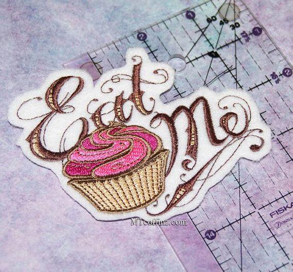 Eat Me Alice in Wonderland Pink Cupcake Iron On by MTthreadz, $6.00