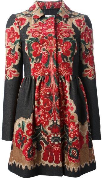 Multicolor Floral Print Coat