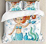 mermaidhomedecor - Cute Mermaid Queen Size Duvet Cover Set $119.99