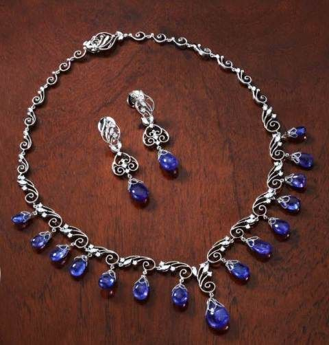 Tanzanite Splendour Diamond Necklace Splendor Clic And Earring Set Featuring