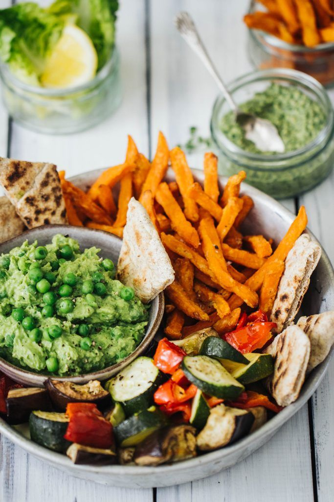 Roast veg, sweet potato fries with avocado pea hummus and flatbreads -with Strong Roots