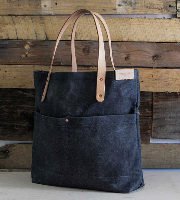 Waxed denim tote bag #tote #denim #leather