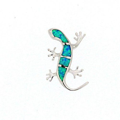 Greek Jewelry Lizard Blue Opal Pendant Sterling by ThetisTreasures
