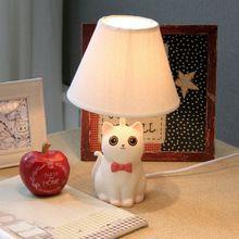 Милый Прекрасный Ручной Смолы Кошка Led E14 Настольная Лампа Для Детской Комнаты Спальня Прикроватные Лампы детские Подарок H 32 см 1817