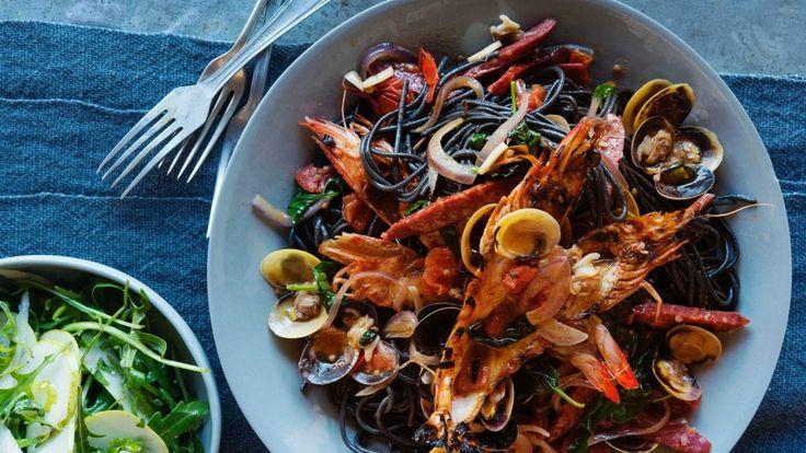 Chorizo vongole with squid ink pasta recipe