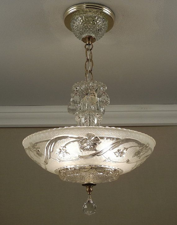 This Is One Of A Pair Vintage 1930s Era Art Nouveau Style Chandeliers I Have