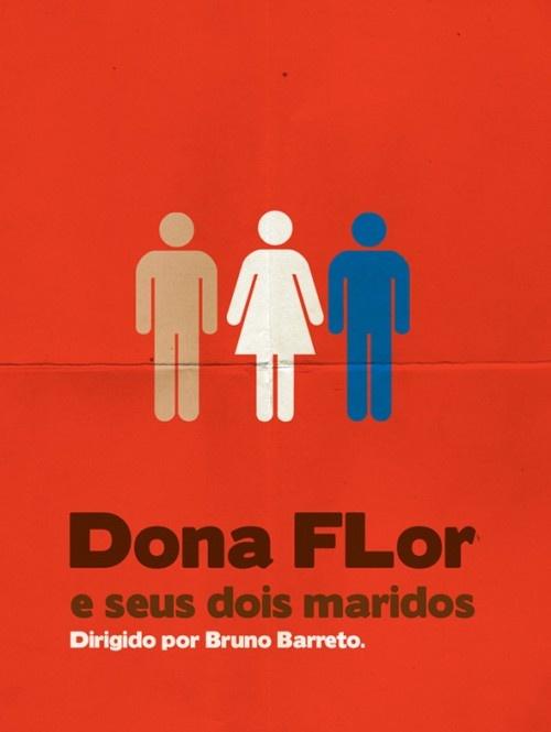 Cartazes minimalistas de filmes brasileiros 10 - Dona Flor e seus dois maridos.