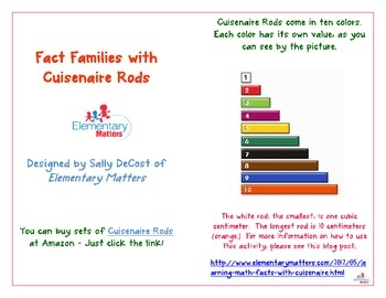 Cuisenaire Rods Fact Families-Great way for the kids to learn those addition facts!  CCSS 2.OA.2: Classroom Freebies, Homeschool Ideas, Addition Facts, Math Facts, Math Ideas, Homeschool Math, Learning Math, Cuisenair Rods, Classroom Ideas