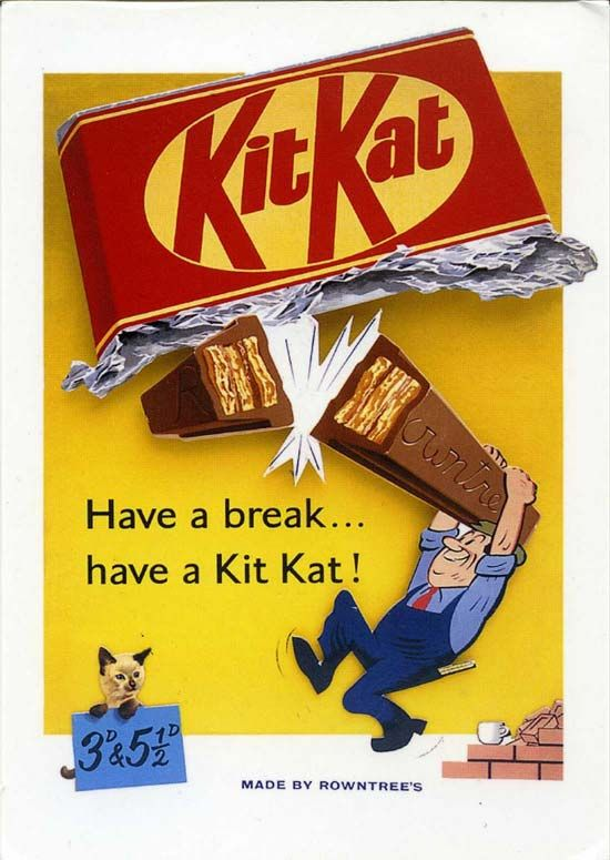 Vintage chocolate ad for Kit Kat